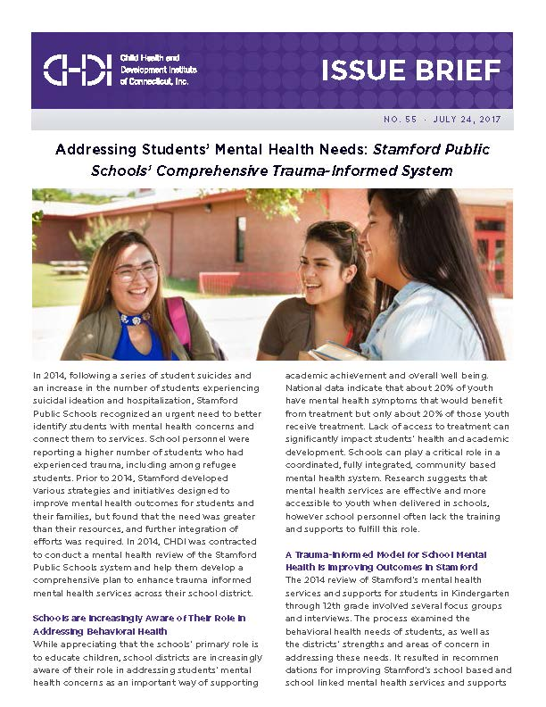 Issue Brief 55 Addressing Students Mental Health Needs The